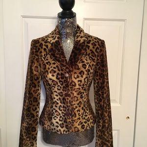 Spiegel Faux Fur Leopard Blazer
